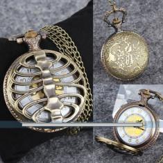 ceas de buzunar, de epoca, vechi, suvenir, de bronz, cuart, de colectie