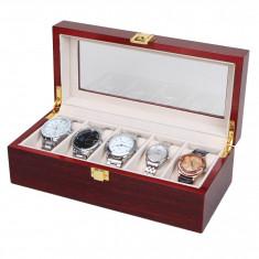 Cutie organizare ceasuri cutie depozitare 5 ceasuri LEMN 5 spatii caseta ceasuri - Cutie Ceas