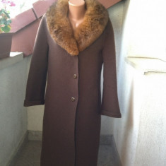 PALTON STOFA LANA SI ALPACA GULER BLANA NATURALA ITALIA - Palton dama, Marime: 46/48, Culoare: Din imagine