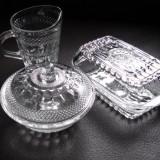 3 piese sticla - Cristala - Cana bomboniera si untiera - set