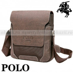 POLO OXFORD – geanta de umar verticala din piele + material tip Oxford - Geanta Barbati Polo Sport, Marime: Medie, Culoare: Maro, Geanta tip postas