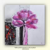 Floare moderna - ulei pe panza 100x100cm - in relief efect 3D - Reproducere, Flori