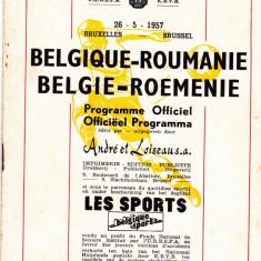Program meci fotbal BELGIA - ROMANIA 26.05.1957