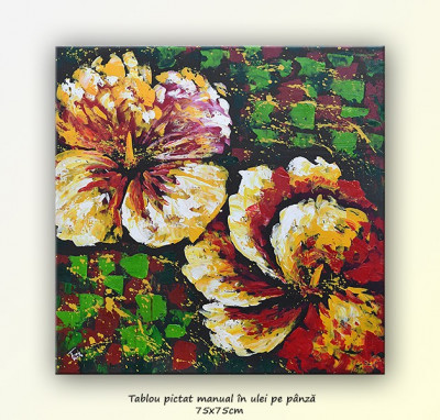 Tablou floral multicolor - ulei pe panza 75x75cm foto