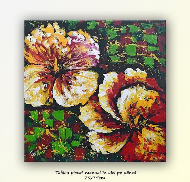 Tablou floral multicolor - ulei pe panza 75x75cm
