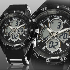 NOU-Superb Ceas militar/sport Dual Display rezistent la Apa, Timer, StopWatch - Ceas barbatesc, Quartz, Cauciuc, Analog & digital