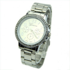 Ceas dama argintiu Silver GENEVA curea metalica cristale + cutie simpla cadou, Fashion, Quartz, Inox