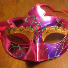Masca Carnaval Foreplay Adult Venetiana  Flower Stralucitoare Halloween, Marime universala, Rose
