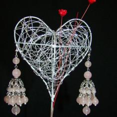 Cercei argint pietre semipretioase de cuart roz candelabru - Pandantiv argint