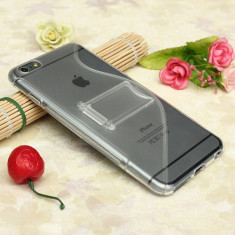 "Husa cu picior transparenta Iphone 6 4,7"" + folie protectie ecran + expediere gratuita Posta"