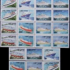 VIETNAM 1990 - VAPOARE 5 x 6 VALORI, OBLITERATE - EO 026