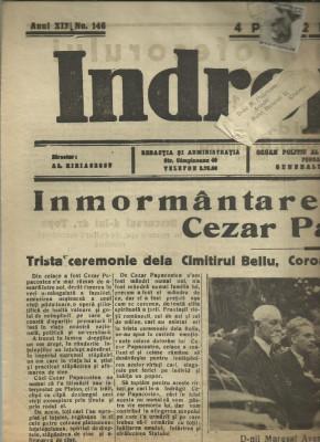 Ziarul Indreptarea : INMORMANTAREA PROFESORULUI CEZAR PAPACOSTEA - 9 iulie 1936, circulat cu timbru Carol II foto
