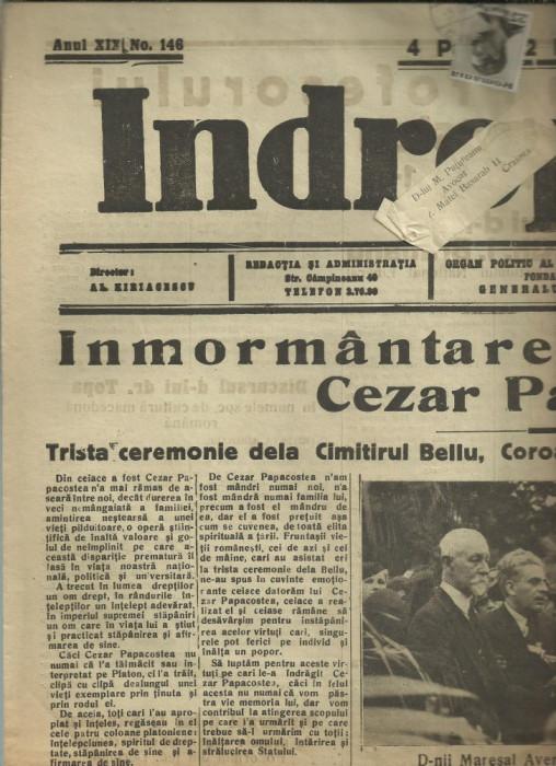 Ziarul Indreptarea : INMORMANTAREA PROFESORULUI CEZAR PAPACOSTEA - 9 iulie 1936, circulat cu timbru Carol II