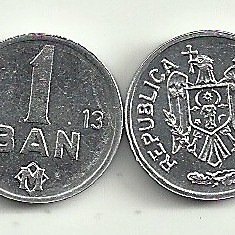 MOLDOVA  1  BAN  2013  [1]  UNC ,   livrare in cartonas , din Fisic -  RARA  !!!, Europa, Aluminiu