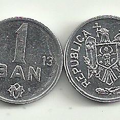 MOLDOVA 1 BAN 2013 [1] UNC, livrare in cartonas, din Fisic - RARA !!!, Europa, Aluminiu
