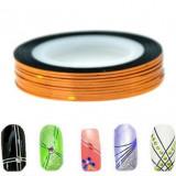banda decorativa pentru modele unghii de culoare portocalie, benzi decorative