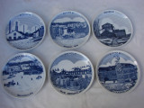 Set de 6 farfurii decorative din portelan suedez Riges, reprezentand localitatea suedeza BOXHOLM