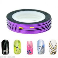 Banda decorativa pentru modele unghii de culoare mov, benzi decorative - Model unghii