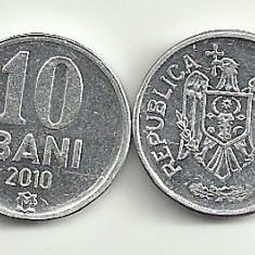 MOLDOVA 10 BANI 2010 [1] XF++ - a UNC, livrare in cartonas, Europa, Aluminiu