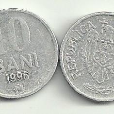 MOLDOVA 10 BANI 1996 [3] livrare in cartonas, Europa, Aluminiu