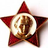 T1. INSIGNA RUSIA URSS CCCP STEA ROSIE CAP LENIN COPIL VARIANTA 3 - 32 mm **