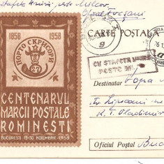 INTREG POSTAL 4841 ROMANIA, CENTENARUL MARCII POSTALE ROMANESTI, 1958, BUCURESTI, CIRCULAT CU POSTALIONUL/STAFETA, STAMPILE SPECIALE, TIMBRU IMPRIMAT.