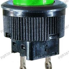 Push buton fara retinere, verde, 21x16mm - 124742