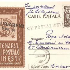 INTREG POSTAL 4844 ROMANIA, CENTENARUL MARCII POSTALE ROMANESTI, 1958, BUCURESTI, CIRCULAT CU POSTALIONUL/STAFETA VIA CALUGARENI, TIMBRU IMPRIMAT.