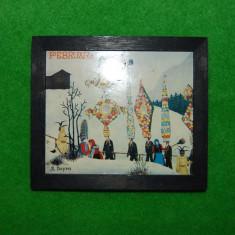 Tabloas (tablou mic), rama lemn vopsit negru, imagine Februar cu traditii de iarna, print pe hartie dupa R. Dapra, 12.5x14.5 cm, colectie, decor