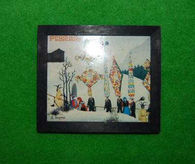 Tabloas (tablou mic), rama lemn vopsit negru, imagine Februar cu traditii de iarna, print pe hartie dupa R. Dapra, 12.5x14.5 cm, colectie, decor foto