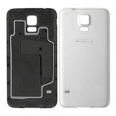 Carcasa capac spate ALB Samsung Galaxy S5 + folie ecran cadou - Husa Telefon Samsung, Plastic