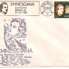 INTREG POSTAL 4864, ROMANIA, EMINESCIANA, EDITIA A V-A, BRAILA, 21.05.1987, TIMBRU EMINESCU, STAMPILA SPECIALA, Dupa 1950