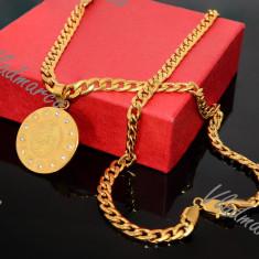 Lant si Pandantiv Maica Domnului inox Cuban - Set bijuterii inox