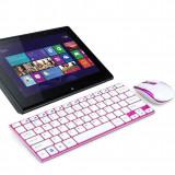 TASTATURA SI MOUSE WIRELESS TIP APPLE EDITIE DE LUX, IDEALA PENTRU LAPTOP, PC, TABLETA. - Tastatura tableta
