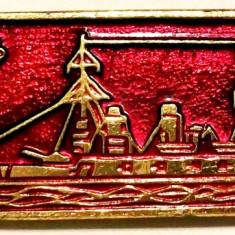 T1. INSIGNA RUSIA URSS MARINA VAPOR NAVA VAS MILITAR MODEL NR. 9, 50 x 17 mm **, Europa