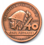 MEDALIE EXPOZITIA FILATELICA TIMISOARA  25 OCTOMBRIE 1984 5 ANI DE ACTIVITATE CERCUL FILATELIC DECEBAL CASA ARMATEI ZIUA ARMATEI