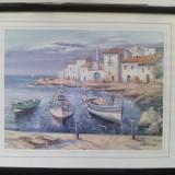 Tablou - Barci la tarm (litografie)