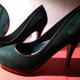 Pantofi 38 verde cu negru