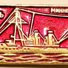 T1. INSIGNA RUSIA URSS MARINA VAPOR NAVA VAS MILITAR MODEL NR. 7, 50 x 17 mm **, Europa