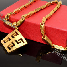 Lant si Cruce Model Versace inox - Set bijuterii inox