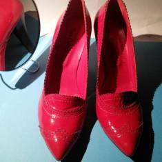 Pantofi rosii piele lac - Pantof dama, Culoare: Rosu, Marime: 39 1/3