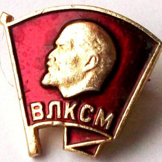 T1. INSIGNA RUSIA URSS CCCP LENIN VLKSM - dimensiune 15 x 15 mm **, Europa