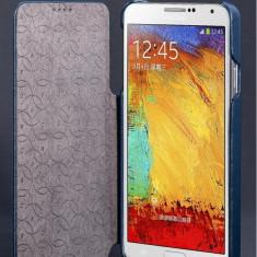 Husa piele NATURALA HOCO DUKE, SAMSUNG NOTE 3, deschidere laterala, albastru - Husa Telefon Hoco, Samsung Galaxy Note 3