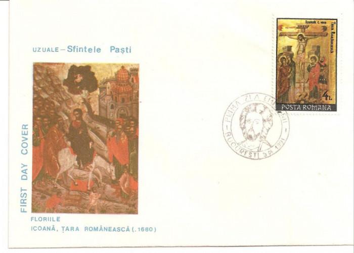 INTREG POSTAL 4892 ROMANIA, SFINTELE PASTI, FLORIILE, ICOANA TARA ROMANEASCA, 1680, FDC, PLIC PRIMA ZI, BUCURESTI, 09.04.1991.