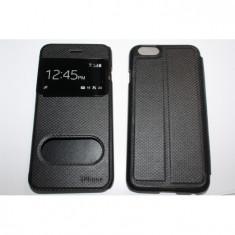 Husa Flip Cover S-View iphone 6 - Husa Telefon Apple, iPhone 6/6S, Negru, Piele Ecologica