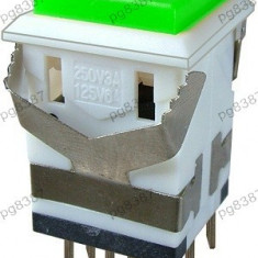 Push buton cu retinere, verde, 3A, 250V, 34x19x19mm - 124670