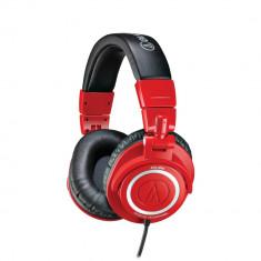 Casti Audio-Technica ATH-M50, negru-rosu ~ Vanzator Premium din 2011 ~ La comanda din SUA, livrare 10 zile lucratoare ~ Aducem orice produs din SUA, Casti On Ear, Cu fir, Mufa 3, 5mm, Active Noise Cancelling