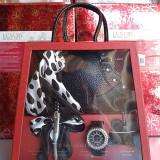 Set cadou ceas dama 5 piese + cutie eleganta cadou, Quartz, Otel, Analog
