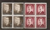 SD Romania 1939 LP130 - 50 ani moarte M.Eminescu, serie 2 val., in bloc de 4, MNH