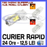 BEC AUTO LED LEDURI T20 W21W - SUPERFLUX -  MARSARIER SEMNALIZARE POZITIE FRANA, Universal, ZDM